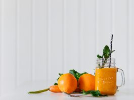 A fresh orange and carrot juice