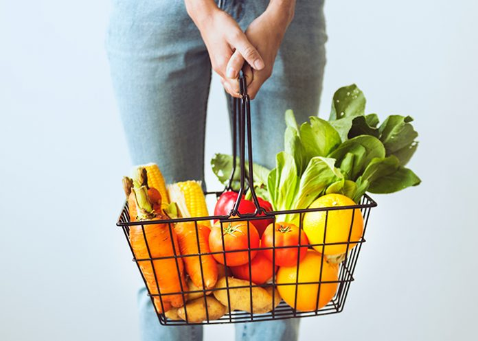 A basket of healthy fruits and vegetables
